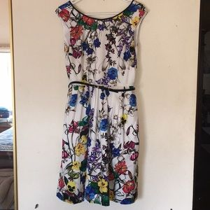 Fit and flare dress with floral print